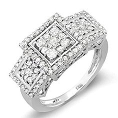 Carat (ctw) White Gold Engagement Cocktail Round Diamond Ring by DazzlingRock Collection Round Diamond Ring, Diamond Cluster Ring, Round Diamonds, Diamond Jewelry, White Diamonds, Women's Jewelry Sets, Jewelry Rings, Women Jewelry, Fashion Rings