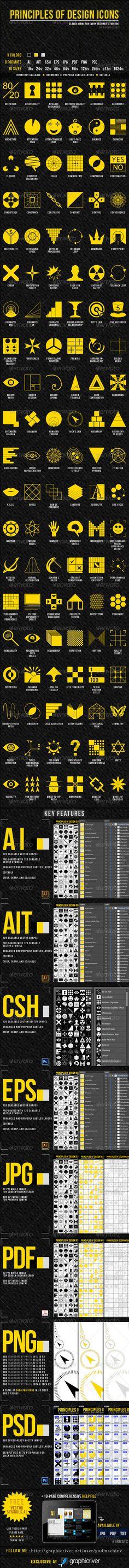 Principles of Design Icons by Godmachine #design #print #web #goldenRatio #sacred
