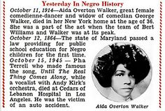 Aida Overton Walker in Negro History - Jet Magazine, October 15, 1953 by vieilles_annonces, via Flickr She was the wife of George Walker, the comedy partner of the Great Bert Williams. She died at age 36. Look how pretty she was!