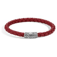 John Hardy Classic Chain Silver Clasp Red Leather Woven Cord Bracelet ($195) ❤ liked on Polyvore featuring jewelry, bracelets, leather jewelry, silver bangles, cord bracelet, silver jewellery and woven cord bracelet
