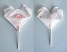 Origami heart with sucker inside. zakka life: Valentine's Day