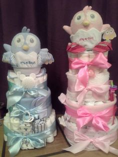 Large owl nappy cakes blue and pink
