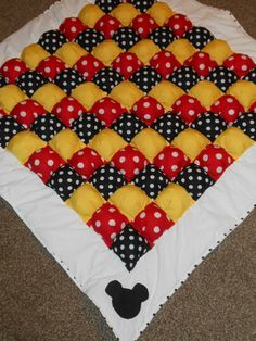 Mickey Mouse Minnie Mouse inspired bubble quilt puff quilt