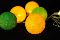 20 x yellow and green cotton balls string light ...