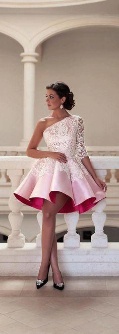 Charming Lace & Satin One-shoulder Neckline A-Line Short Cocktail Dresses