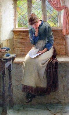 William Harris Weatherhead (1843-1903) Cottage interior with woman reading a letter
