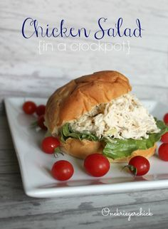 Chicken Salad in a Crockpot- So good and oh, so easy to put together. A family favorite at our house! {Onekriegerchick.com}