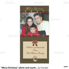 """""""Merry Christmas"""" photo card country plaid"""