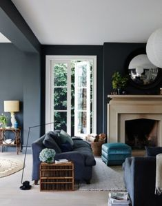 Perfect Navy Blue Living Room with Best 25 Navy Living Rooms Ideas On Home Decor Navy Blue Living Dark Walls Living Room, Navy Blue Living Room, Living Room Color Schemes, Living Room With Fireplace, Living Room Paint, Living Room Chairs, Home Living Room, Living Room Designs, Living Room Decor