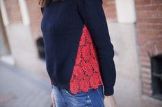 Por fin, nuevos jeans favoritos. Jersey azul y rojo. Details from my street style outfits. Detalles de mis looks de street style.