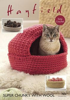 Ideas for crocheted Christmas gifts - Last week we looked a couple of books that could come in useful when knitting gifts. But we know that more and more of you are crocheting as well, so might also be thinking of getting your hooks ou… - Gato Crochet, Crochet Cat Pattern, Knit Crochet, Crochet Patterns, Crochet Cat Beds, Crochet Christmas Gifts, Crochet Gifts, Christmas Items, Cat Basket