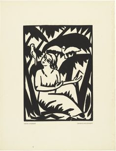 Untitled (Girl with Doves) by Georg Schrimpf, 1917 Woodcut