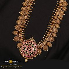 Jewelry OFF! Feel the historic moment with this gold long necklace beautified by the sculpting of Lakshmi kemp stone uncut diamond south sea pearl and real stones. Antique Jewellery Designs, Gold Earrings Designs, Gold Jewellery Design, Antique Jewelry, Gold Designs, Necklace Designs, Antique Gold, Gold Temple Jewellery, Gold Wedding Jewelry