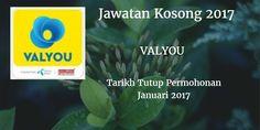 Jawatan Kosong VALYOU Januari 2017  VALYOU mencari calon-calon yang sesuai untuk mengisi kekosongan jawatan VALYOU terkini 2017.  Jawatan Kosong VALYOU Januari 2017  Warganegara Malaysia yang berminat bekerja di VALYOU dan berkelayakan dipelawa untuk memohon sekarang juga. Jawatan Kosong VALYOU Terkini Januari 2017: TELLER JOHOR BAHRU SENAI TAMAN DAYA CEMERLANG PASIR GUDANG PEKAN NENAS PENGERANG Min SPM or higher qualification with credit/pass in bahasa Malaysia English and Mathematics…