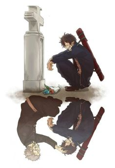 (Anime: Ao No Exorcist/Blue Exorcist) Right. (Anime: Ao No Exorcist / Blue Exorcist) (-passing does not mean you forget things it just means you have to accept what happened and continue to live-) Sad Anime, I Love Anime, Anime Guys, Manga Anime, Anime Crying, Kawaii Anime, Blue Exorcist Anime, Ao No Exorcist, Blue Exorcist Cosplay
