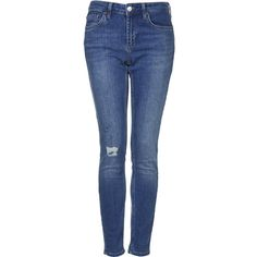 TOPSHOP MOTO Mid Stone Ripped Baxter Jeans ($38) ❤ liked on Polyvore featuring jeans, pants, bottoms, topshop, trousers, mid stone, destroyed skinny jeans, relaxed skinny jeans, torn skinny jeans and blue skinny jeans