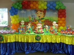 Handy Manny party decoration by Kylla'sweets, via Flickr,  I like this color scheme. Lots of bright colors.
