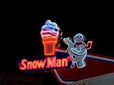 snowman ice cream neon sign