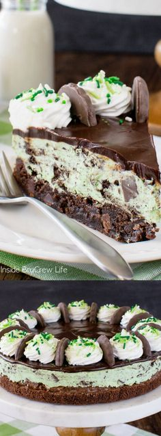 Thin Mint Cheesecake Brownie Cake has layers of creamy cheesecake and soft chewy brownie!  via @bestblogrecipes