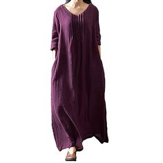 f4bbf19509e Γυναικεία Μεγάλα Μεγέθη Τουνίκ Φόρεμα - Μονόχρωμο Μακρύ Λαιμόκοψη U /  Φαρδιά 2019 - US $20.69