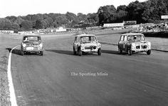 Brands Hatch 1962, after a terrific race three Minis do a lap of honour, centre Steve McQueen , on the left Christabel Carlisle , on the right Vic Elford