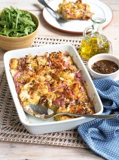 Easy red onion and cauliflower bake