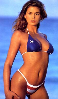 """""""In any year, Cindy Crawford is the real Miss America. That a model, even one as multi-talented as CC, should wind up...on a list of the century's sexiest women is a staggering tribute to her limpid and sweet-natured Americanness. The Statue of Liberty should have a beauty mark--right there."""" Playboy magazine, January 1999. Happy 4th of July."""