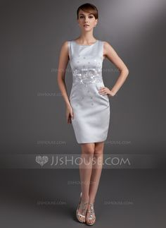 Sheath/Column Scoop Neck Knee-Length Satin Mother of the Bride Dress With Sequins (008006017) - JJsHouse