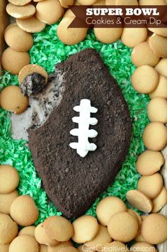 Football cookies and cream dip (recipe and tutorial) - Super Bowl party food, football party dessert idea, cookies & cream dip shaped like a football!