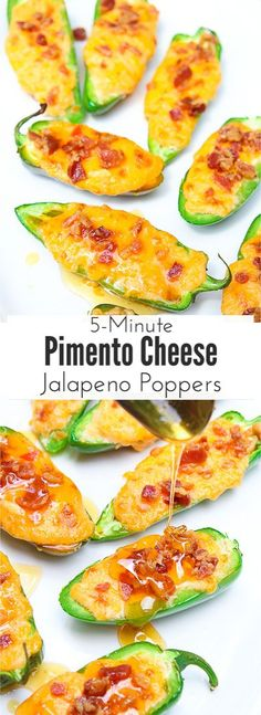 Pimento cheese jalapeno poppers melt fresh jalapenos and pimento cheese together and then top them with crisp bacon crumbles and a drizzle of fresh honey. Each bite combines sweet and spicy with warm melty cheese and crunch. The perfect snack or appetizer in just 5 minutes! via @blessherheartya