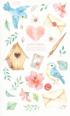 Love Birds Watercolor Clipart Romantic Wedding Watercolor - The Set Of High Quality Hand Painted Watercolor Birds And Floral Element Images Included Bird Housepre Made Bouquets And Wreath Perfect For Wedding Invitations Greeting Cards Quotes Posters Log # Watercolor Clipart, Watercolor Bird, Watercolor Texture, Watercolor Animals, Watercolor Wedding, Watercolor Illustration, Watercolor Paintings, Watercolor Portraits, Watercolor Landscape
