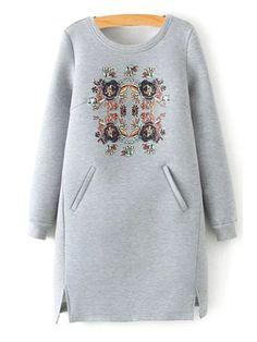 Floral Scoop Neck Long Sleeve Dress - GRAY L Mobile