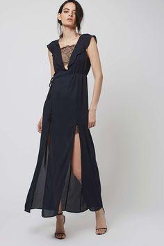 PETITE Lace Trim Maxi Dress || TOPSHOP $130