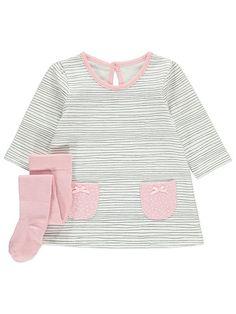 Vauvan raitamekko ja sukkahousut setti Settee, Polka Dot, Sweaters, Fashion, Moda, Polka Dots, Sofa, Fashion Styles, Sweater