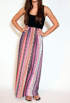 Tank Maxi with Patterned Skirt