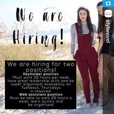 @stylerevel・・・Hey guys! We are looking to expand our family a little! We are hiring for two positions. Interested? Email your resume AND school schedule to Emilee@stylerevel.com! Tag someone you think would be interested! We love adding new exciting talented people to our family