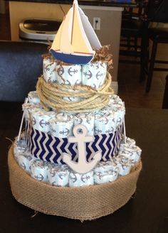 nautical diaper cake ideas - Google Search                                                                                                                                                                                 More