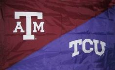 Texas A&M and TCU house divided hand-sewn flag. $64.99 House Divided Flags, Texas A&m, Make Me Happy, Frogs, Hand Sewn, Divider, Gift Ideas, Room Screen