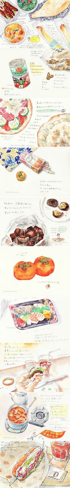 Imagine how delicious looking and beautiful a food drawing with these illustrations in them every day would be ^_^ Food Drawing, Painting & Drawing, Cute Illustration, Watercolor Illustration, Dm Poster, Pinterest Instagram, Food Sketch, Watercolor Food, Arte Sketchbook