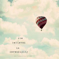 she believed in serendipity  8x8 hot air balloon by SusannahTucker, $30.00