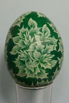 Skrobanki  Leaves and Flower Design on Deep Green by TPetonke, $20.00