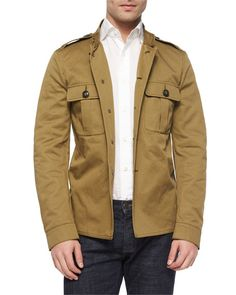 Burberry Brit  Tarrant Knit Military Jacket, Khaki $397
