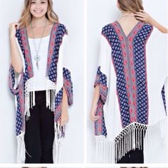 Print Fringe Cardigan❗️One Left❗️ Cardigan features print on sides and back and fringed hem.  Material is 100% acrylic.  Price is FIRM unless bundled. Tops