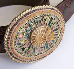 Ammonite, Van Gogh glass, sunstone, glass beads, coconut shell, sand stone  Mosaic belt buckle.  www.sallymays.co.nr