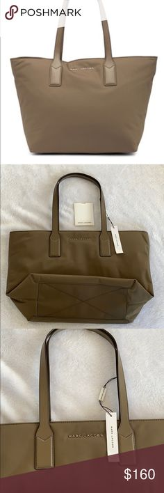 1fe60d947df0 NWT Marc Jacobs Nylon Tote Color  stone gray NWT Double straps Inside zip  pocket Zip