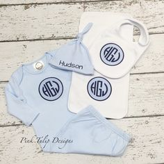 A personal favorite from my Etsy shop https://www.etsy.com/listing/261912771/baby-boy-monogrammed-gown-cap-bib-and