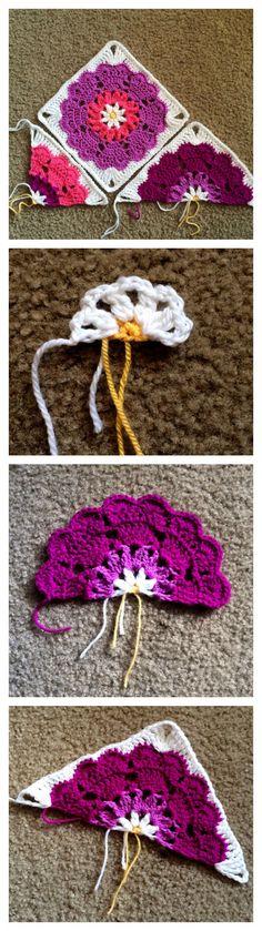 Heart Mandala Half-Square Free Crochet Pattern