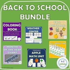 Back To School Bundle includes:  A cute, fun and interactive Months Of the Year Chant  A 33 page Coloring Book  An Apple Math Unit  An All About Me Fun Sheet  A Weather Activity Pack  And Fall Decor for your classroom! Weather Activities, School Resources, Months In A Year, Teaching Kids, Coloring Books, Back To School, Classroom, The Unit, Teacher