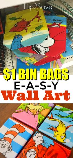 Super Easy Wall Art from Reusable Bags. I've seen cute Disney themed ones at the dollar tree