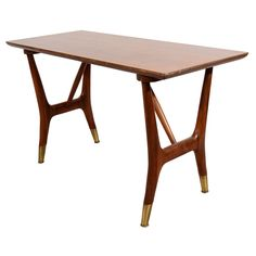 Mid Century Walnut Writing Table with Brass Cap Feet | 1stdibs.com
